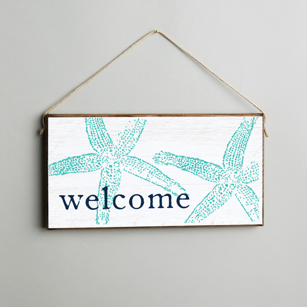 Welcome Starfish Twine Hanging Sign