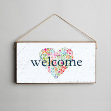 Load image into Gallery viewer, Welcome Floral Heart Twine Hanging Sign
