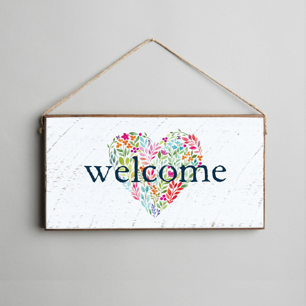 Welcome Floral Heart Twine Hanging Sign