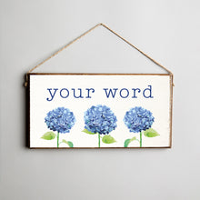 Load image into Gallery viewer, Personalized Hydrangea Twine Hanging Sign