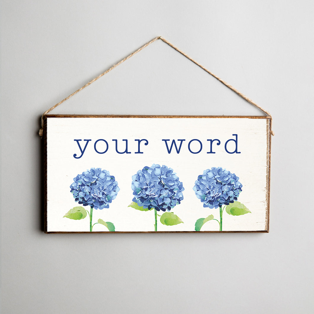 Personalized Hydrangea Twine Hanging Sign