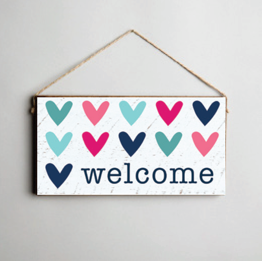 Welcome Hearts Twine Hanging Sign