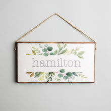 Load image into Gallery viewer, Personalized Split Greenery Twine Hanging Sign