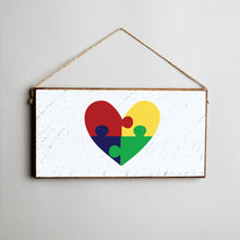 Load image into Gallery viewer, Autism Puzzle Piece Heart Twine Hanging Sign