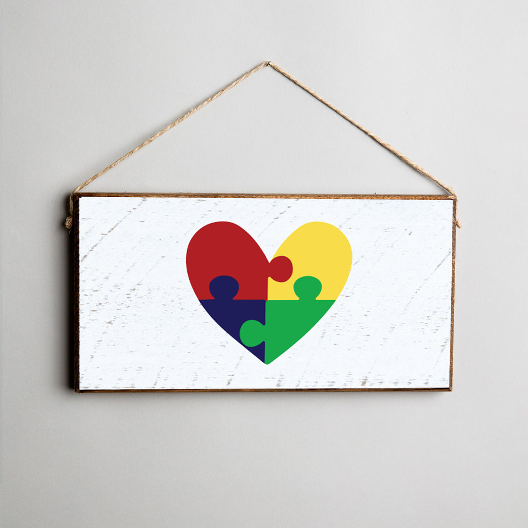 Autism Puzzle Piece Heart Twine Hanging Sign
