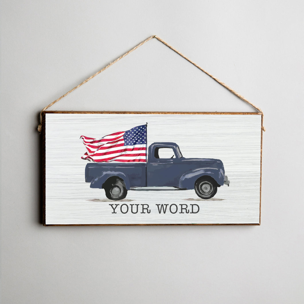 Personalized Welcome Flag Truck Twine Hanging Sign