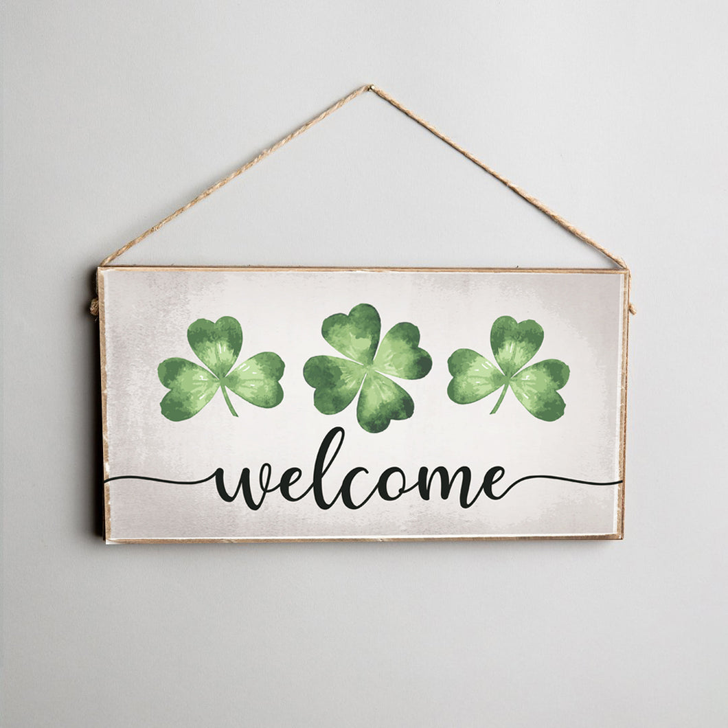 Welcome Shamrocks Twine Hanging Sign