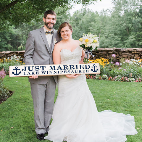 Personalized Just Married Barn Board