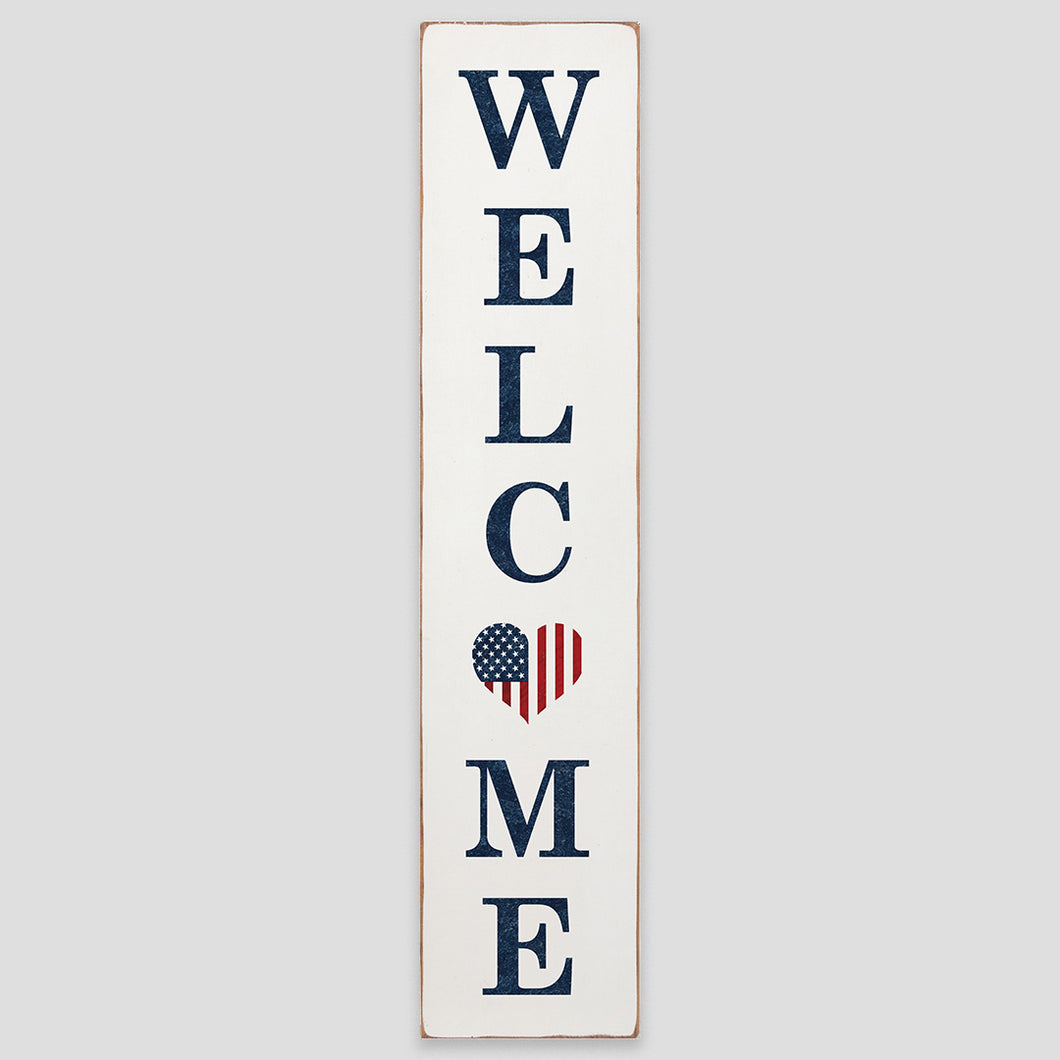 Welcome American Heart Barn Wood Sign