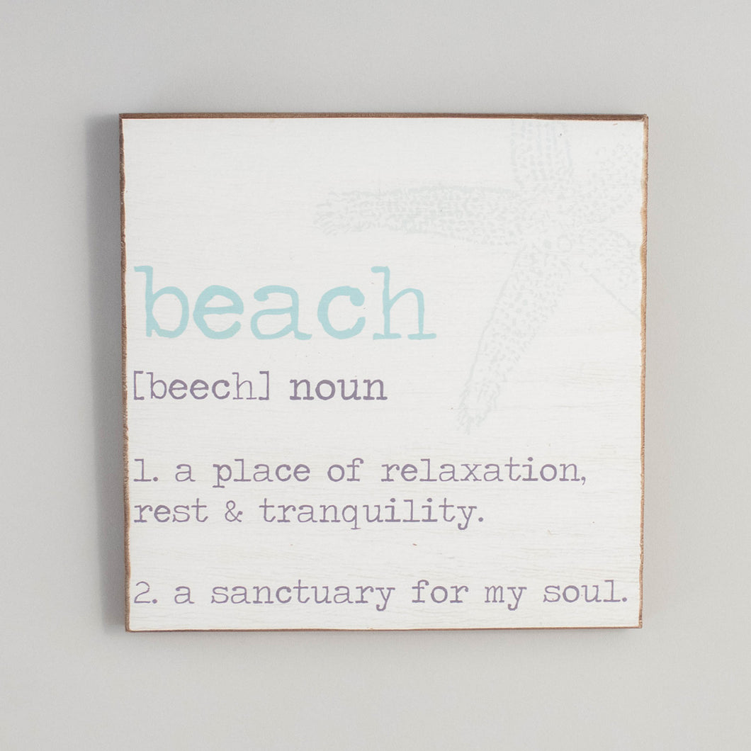 Beach Definition Rustic Wood Sign