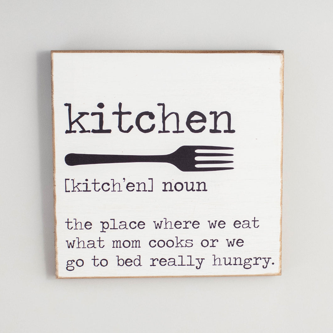 Kitchen Definition Rustic Wood Sign