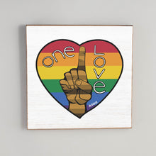 Load image into Gallery viewer, One Love Rainbow Heart Vintage Square