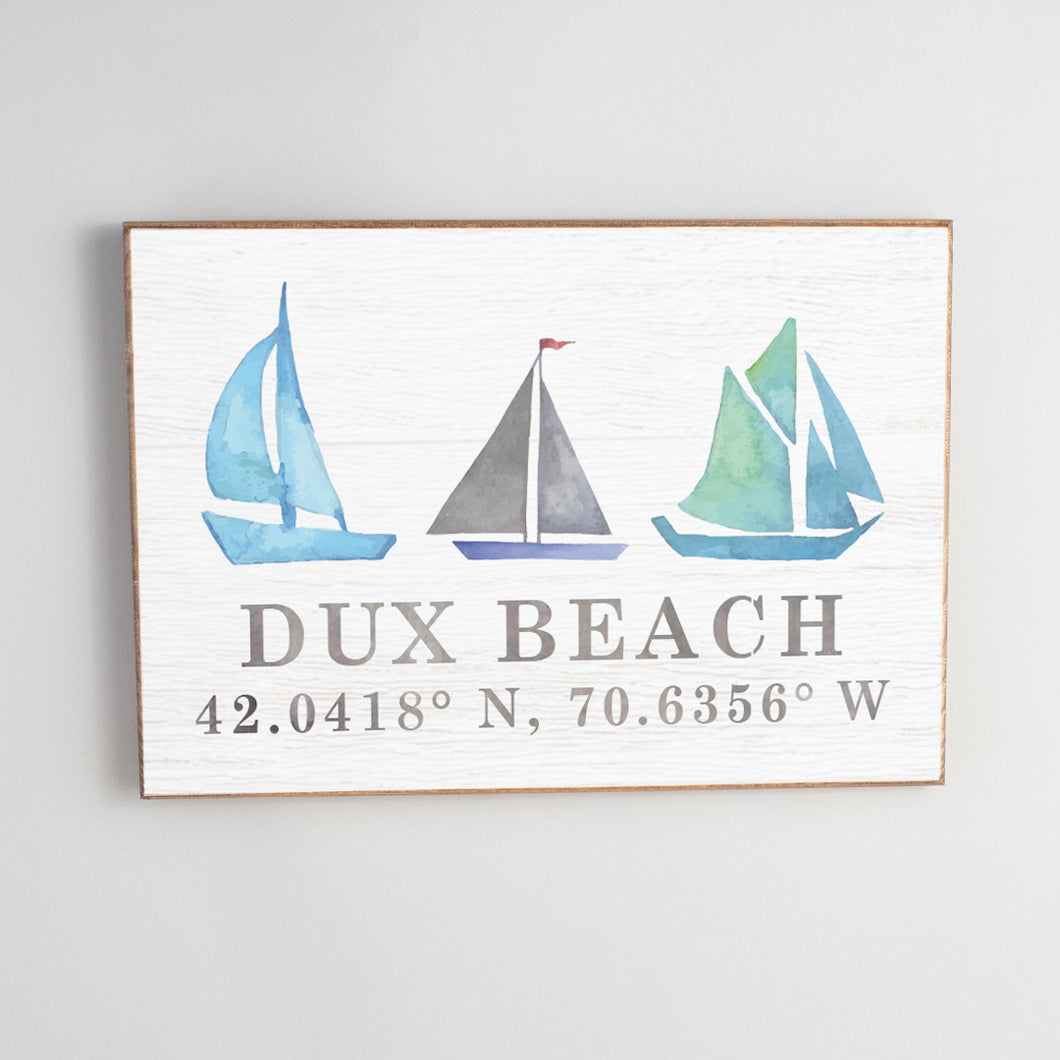 Personalized Sailboats + Coordinates Rustic Wood Sign