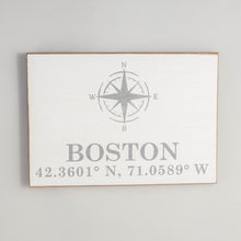 Load image into Gallery viewer, Personalized Compass + Coordinates Rustic Wood Sign