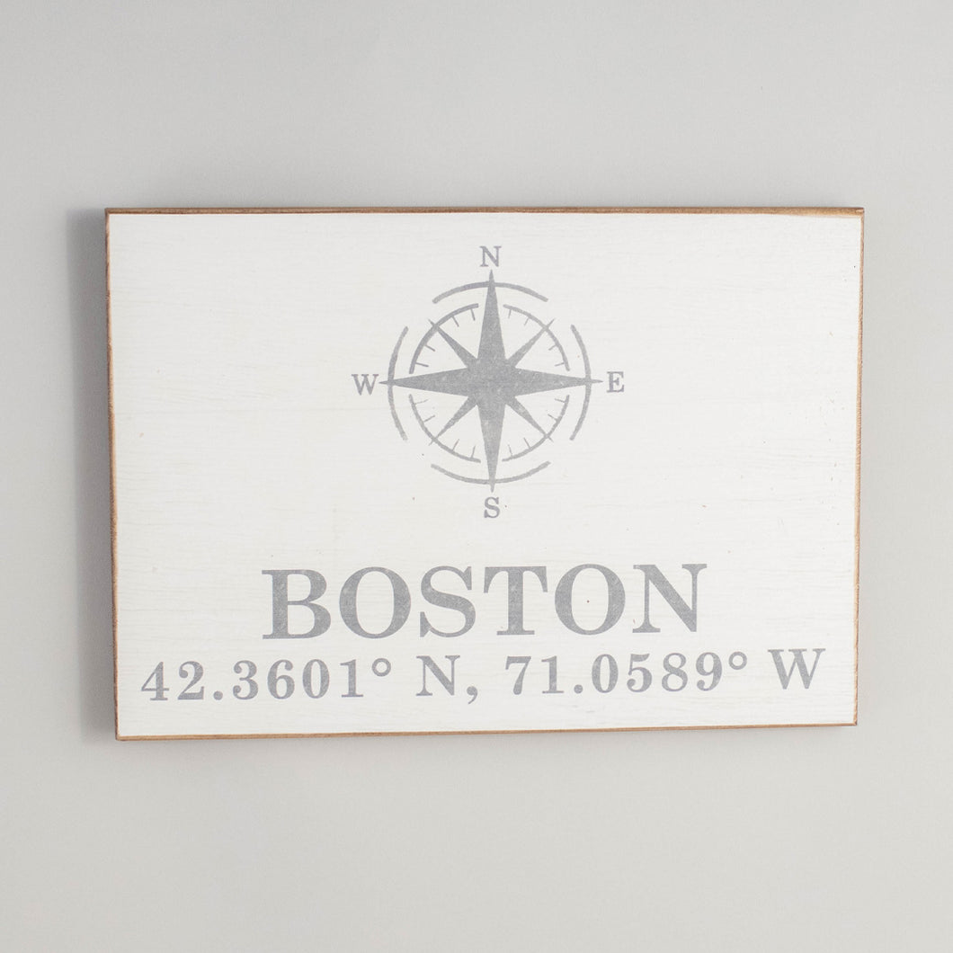 Personalized Compass + Coordinates Rustic Wood Sign