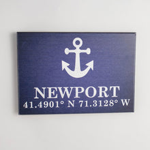 Load image into Gallery viewer, Personalized Anchor + Coordinates Rustic Wood Sign