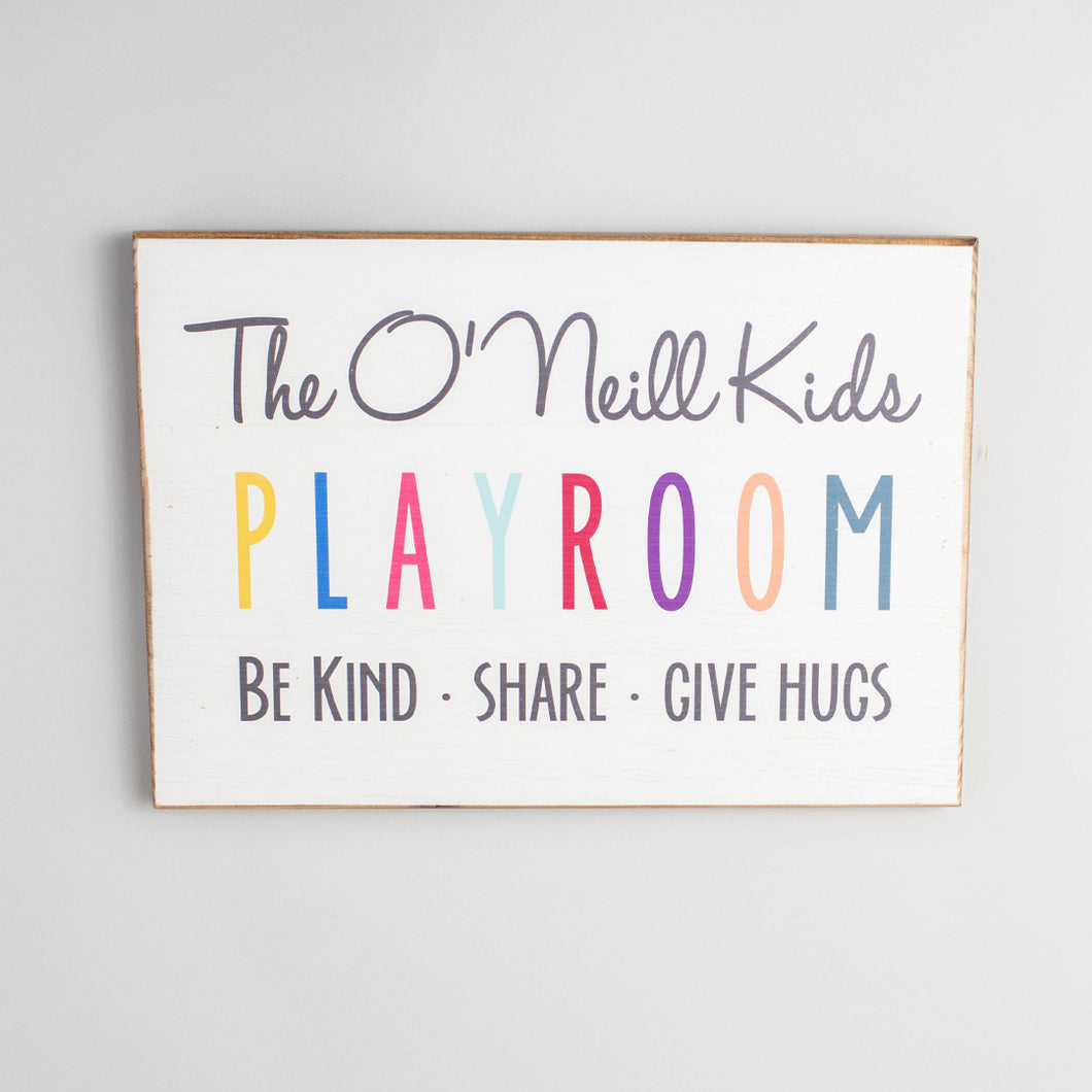 Personalized Playroom Rustic Wood Sign