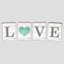 Load image into Gallery viewer, Love Heart Coastal Decorative Wooden Block Bundle