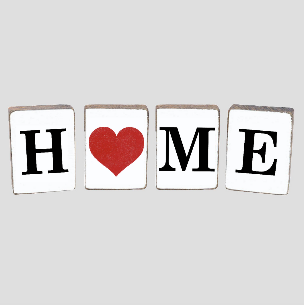 Home Heart Decorative Wooden Block Bundle