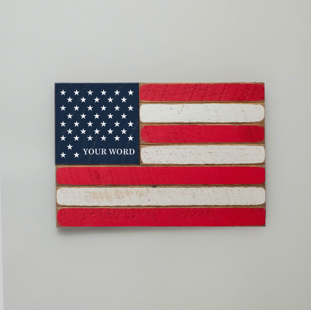 50 Stars With Name Lower Corner Wooden American Flag
