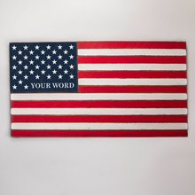 Load image into Gallery viewer, 50 Stars With Name Lower Corner Wooden American Flag