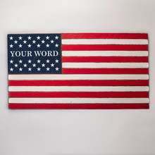 Load image into Gallery viewer, 50 Stars Split With Name Wooden American Flag