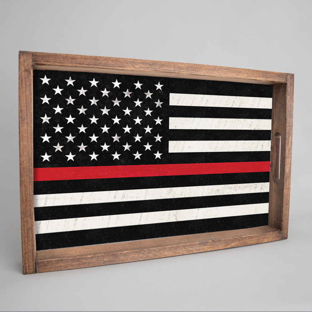 Thin Red Line Wooden Serving Tray
