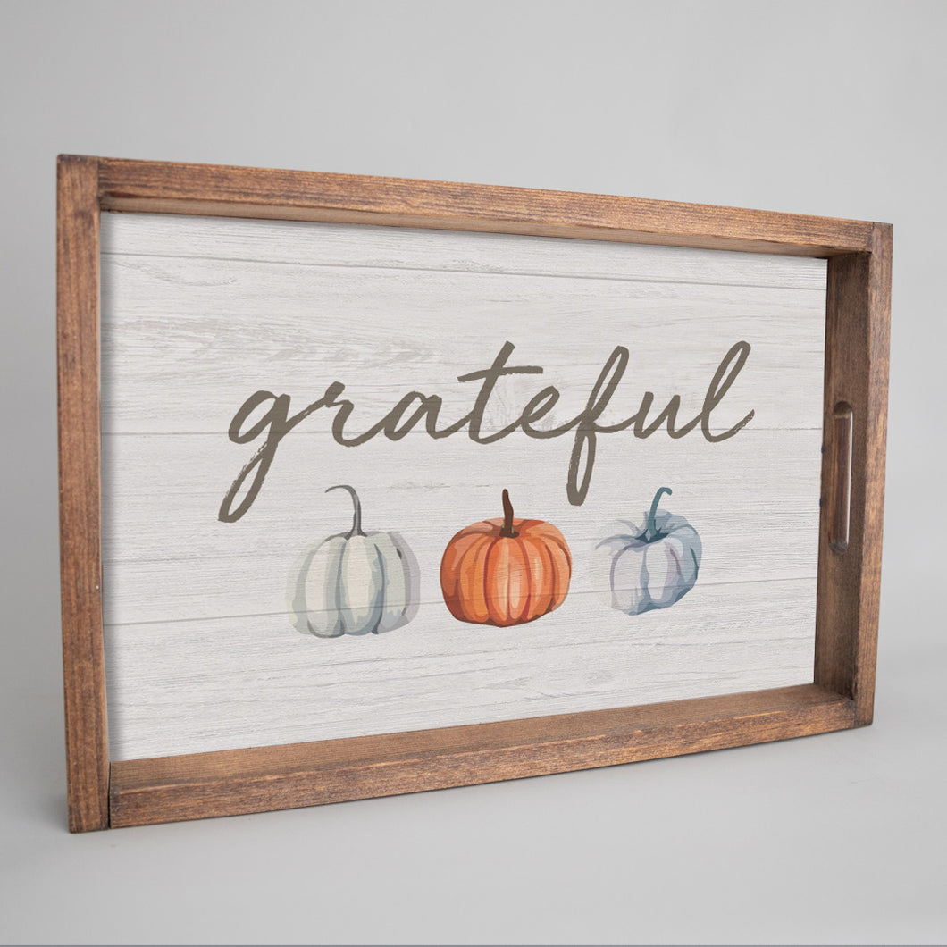 Grateful Wooden Serving Tray