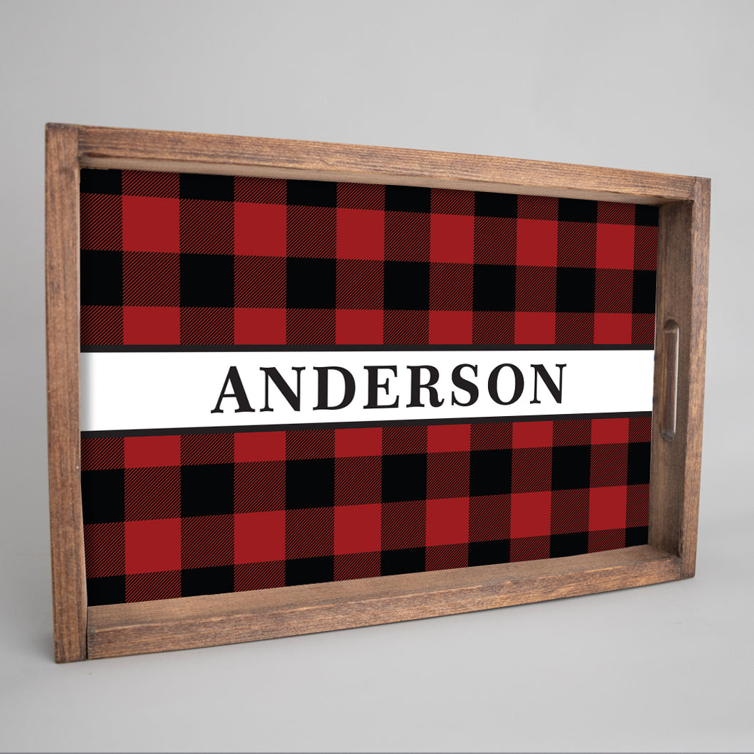 Personalized Buffalo Check Plaid Wooden Serving Tray