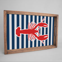 Load image into Gallery viewer, Lobster Stripes Wooden Serving Tray
