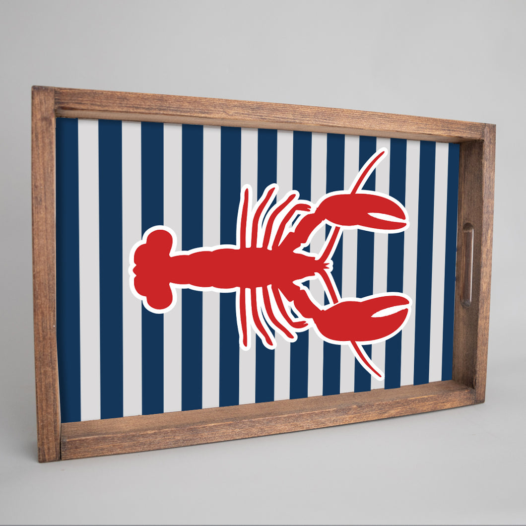 Lobster Stripes Wooden Serving Tray