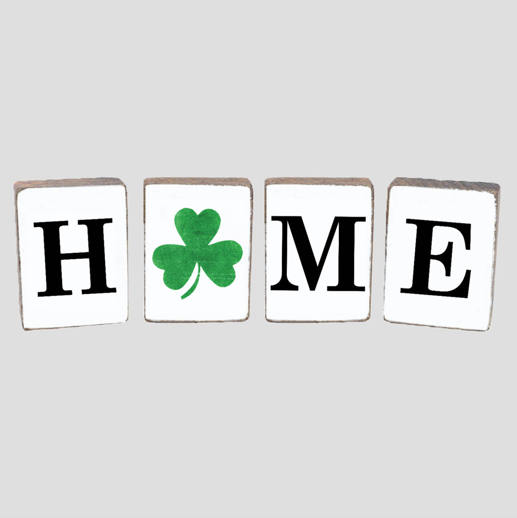 Home Shamrock Decorative Wooden Block Bundle