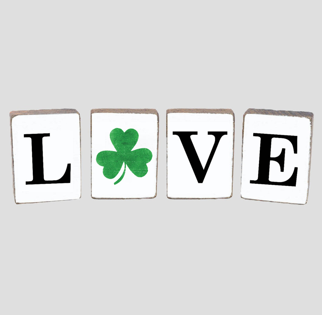 Love Shamrock Decorative Wooden Block Bundle
