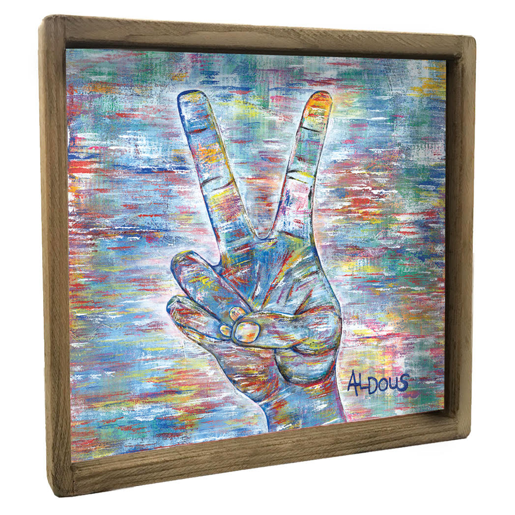 Peace Sign Vintage Square Framed
