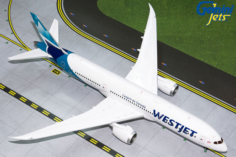 Gemini Jets WestJet Boeing B787-9 Dreamliner 1:200 Scale G2WJA826 With Stand - Skywing World