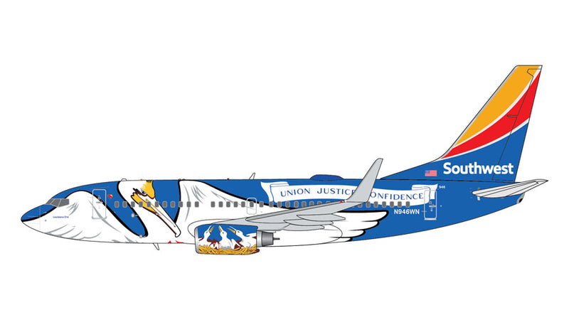 "Gemini Jets Southwest Airlines Boeing B737-700 1:200 Scale G2SWA926 With Stand ""Louisiana One"""