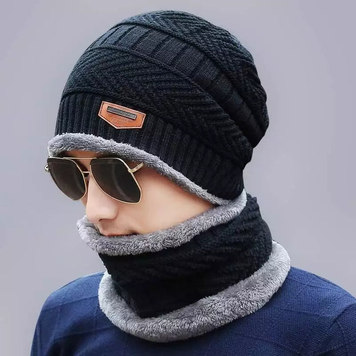 Men Knit Hat & Neck warmer Winter Cap