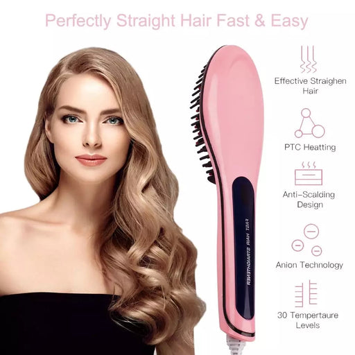 Electric Hair Straightener Brush Ceramic fast Heating Electric brush