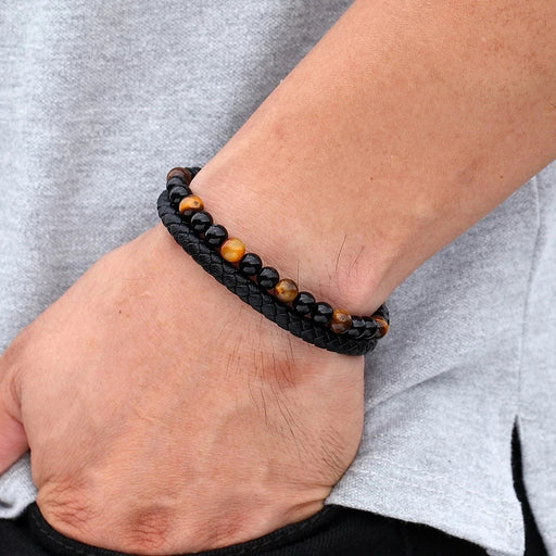 Natural Stone Men Bracelet Black Genuine Leather
