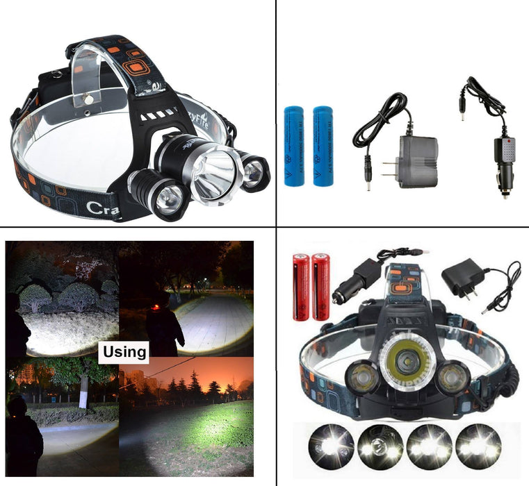 Super Bright Zoomable 4 Modes Rechargeable Waterproof LED Headlamp