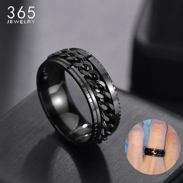 Cool Stainless Steel Rotatable Men Ring