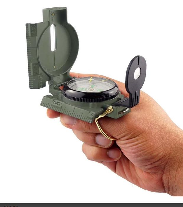 Military Compass With Mangifying Glass and Side Ruller