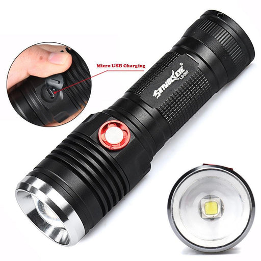 Rechargable Mx-Power Flashlight Zoom in Zoom Out