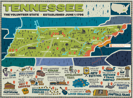 Tennessee Map for True South Puzzle Co.