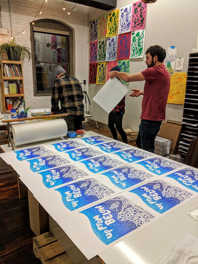 Screenprinting the Up From Below Limited Edition poster for the beer release - NOV 2018