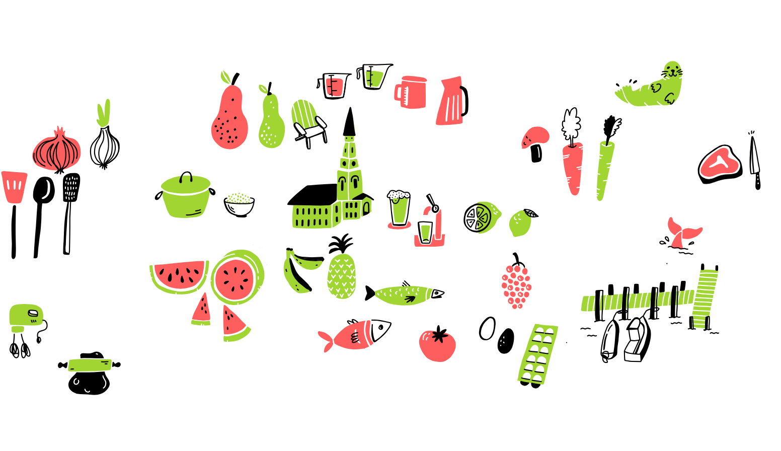 Brainstorm Mural for Whole Foods - Early Sketches
