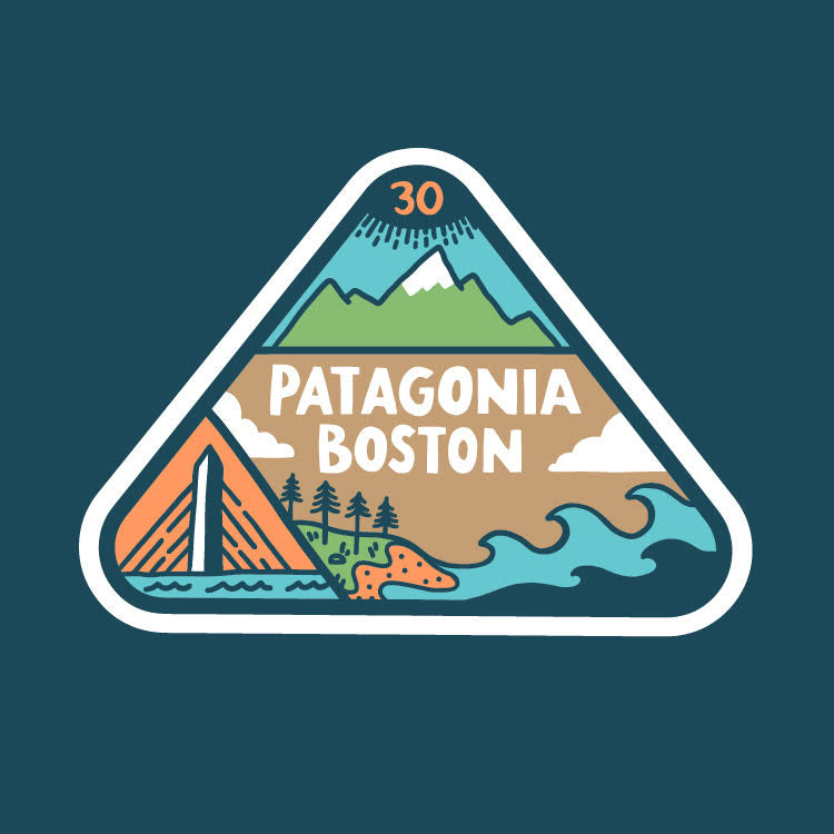 Brainstorm Patagonia Boston 30th Anniversary Logo