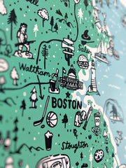 Massachusetts Map Screenprint by Brainstorm