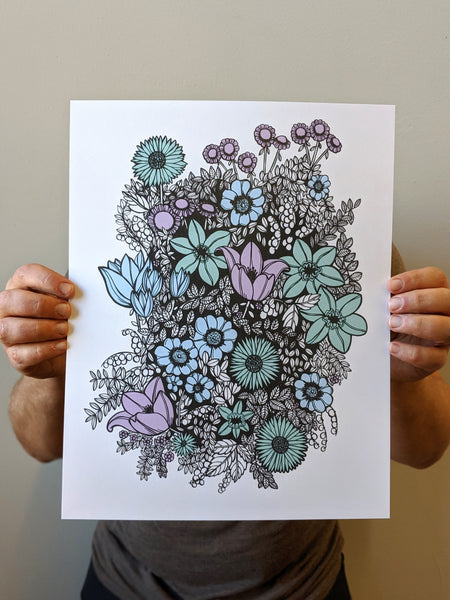 Overgrowth Floral Print in Blue by Brainstorm
