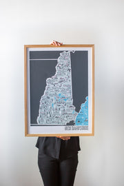 New Hampshire Map by Brainstorm - Visit Dover, White Mountain National Forest, Portsmouth, Lake Winnepesaukee, Keene, North Conway, Littleton, Tamworth, Waterville Valley, Mount Washington